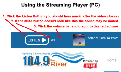 Using the streaming player graphic